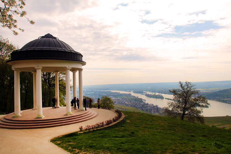 Rüdesheim Germany, View on Rhine from Top of Hill, Niederwald Monument