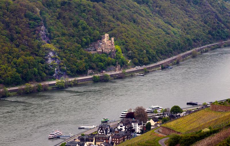 Rüdesheim Germany, View over Assmanshausen & Rheinstein Castle