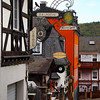 Ruedesheim Germany, Typical Side Street with Wine Bars and Guesthouse