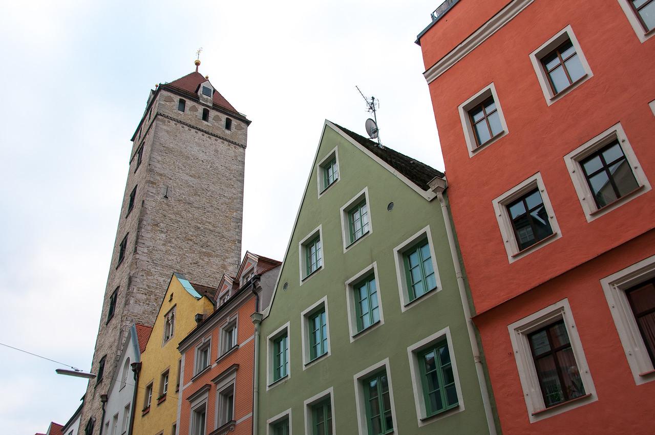 Colorful buildings in Regensburg, Germany
