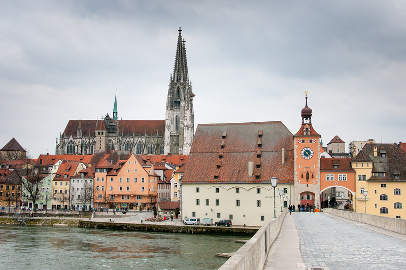 View of the Regensburg Cathedral from the stone bridge in Regensburg, Germany