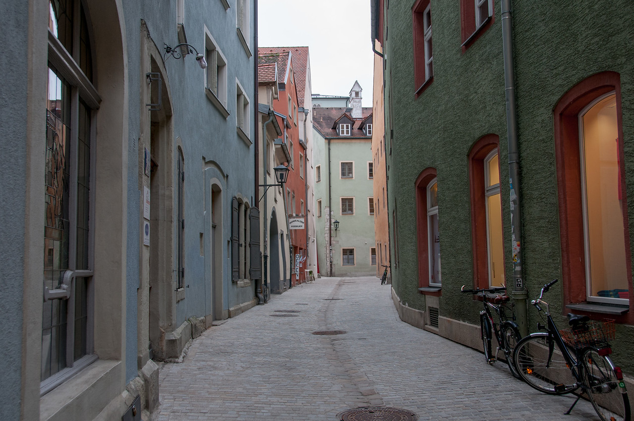 Empty alley in Regensburg, Germany
