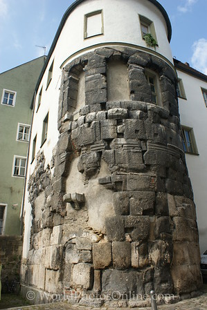 Regensburg - Remains of  Porta Praetoria Tower (Roman - 100 CE)