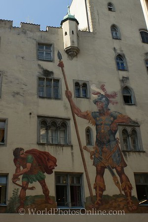 Regensburg - Painting of David and Goliath