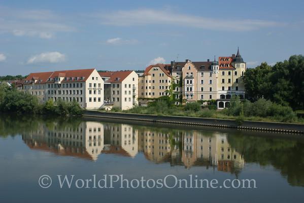 Regensburg - Apartment Buildings reflected in Danube River