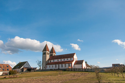 View of St. George's Church on a clear day at Reichenau, Germany