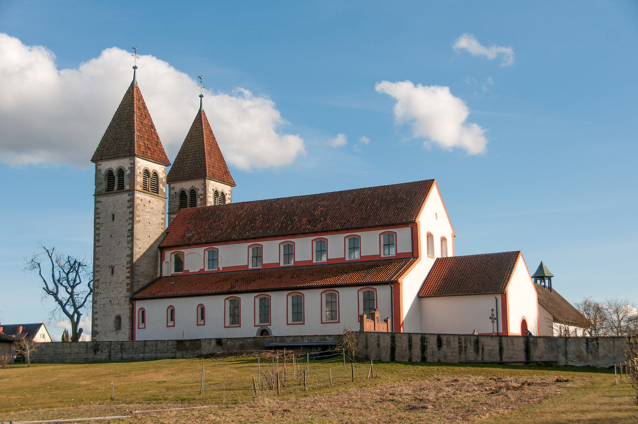 Closer shot of St. George's Church in Reichenau, Germany