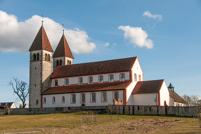 Closer shot of St. George's Church in Reichenau, Germany