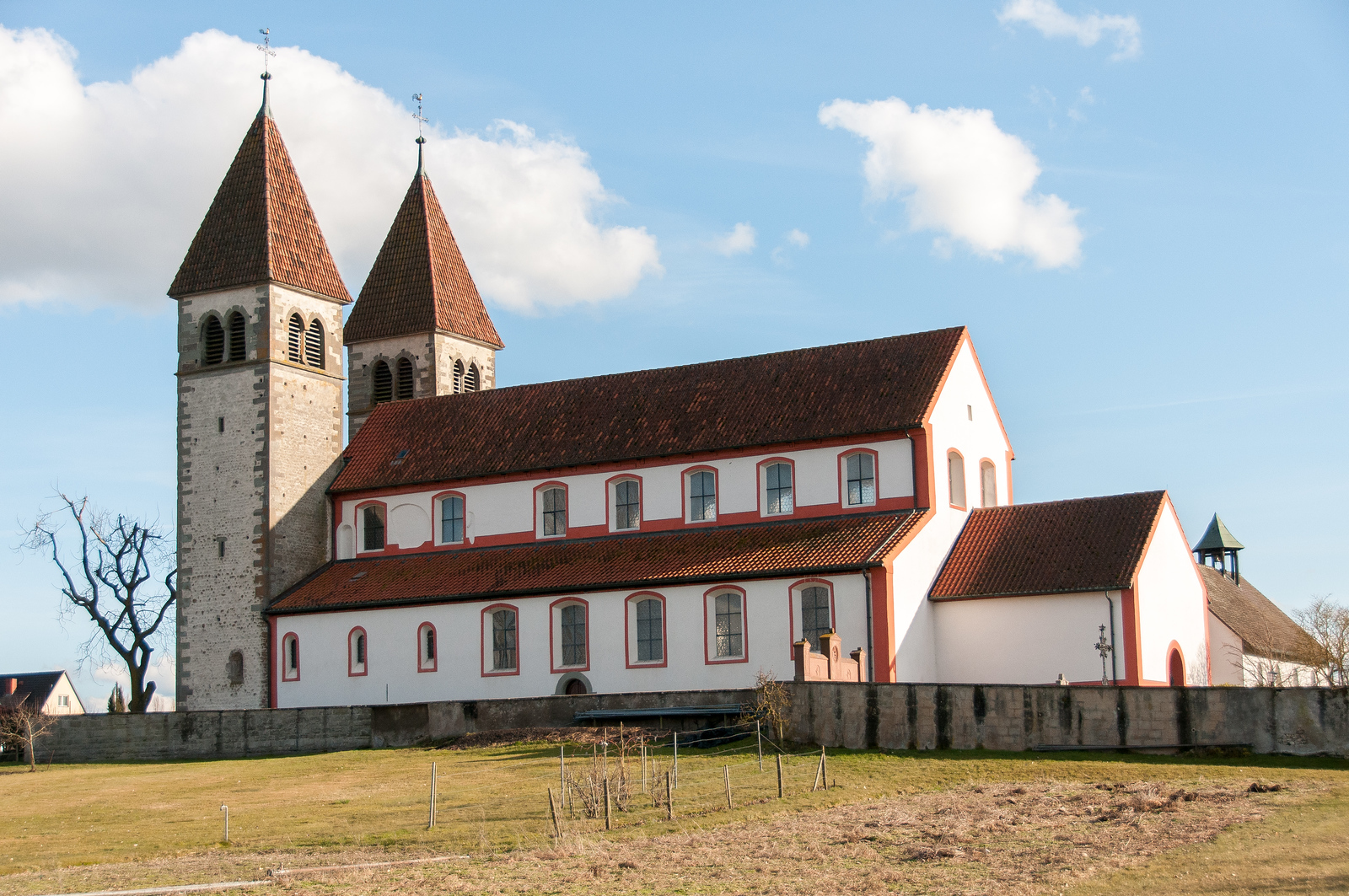 Isolated shot of St. George's Church in Reichenau, Germany