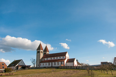 Wide shot of St. George's Church and landscape at Reichenau, Germany
