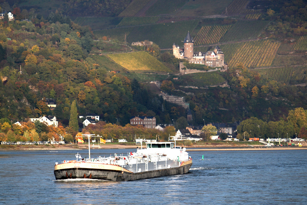 Barge and Castle - Rhine River Gorge, Germany