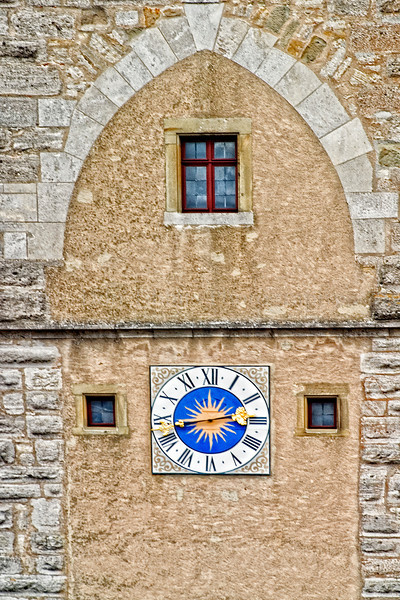 Rothenburg, Rothenburg ob der Tauber, Germany, Ansbach, Bavaria, Bayern, Ansbach District, Franconia, Mittlefranken, Clock