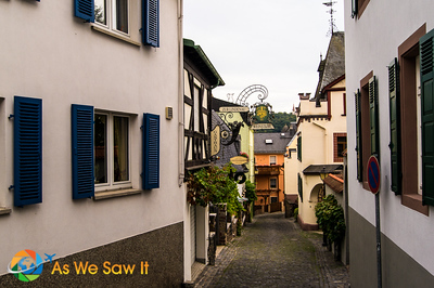 View down an empty street of half-timbered houses