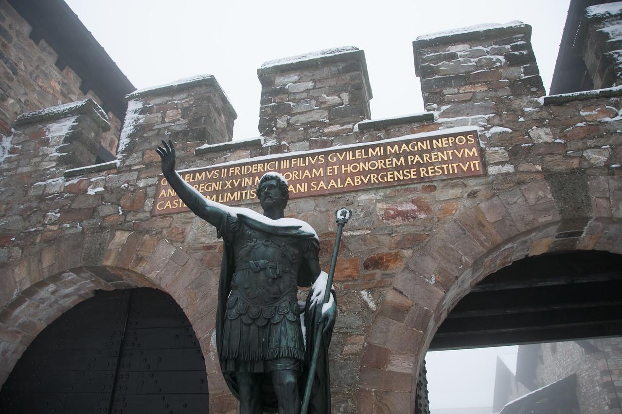 Statue of Antoninus Pius in front of Saalburg Roman Fort in Germany