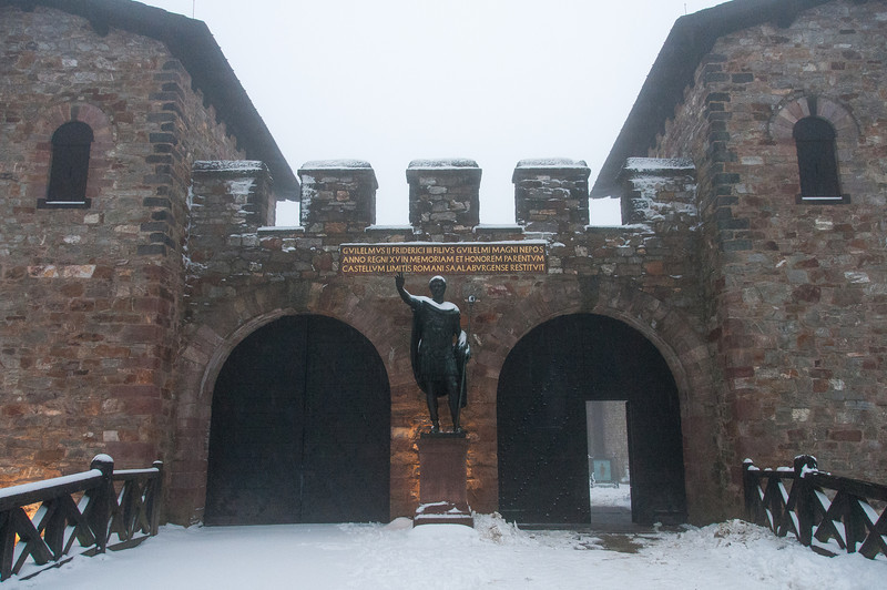 Entrance to Saalburg Roman Fort with Statue of Antoninus Pius - Germany