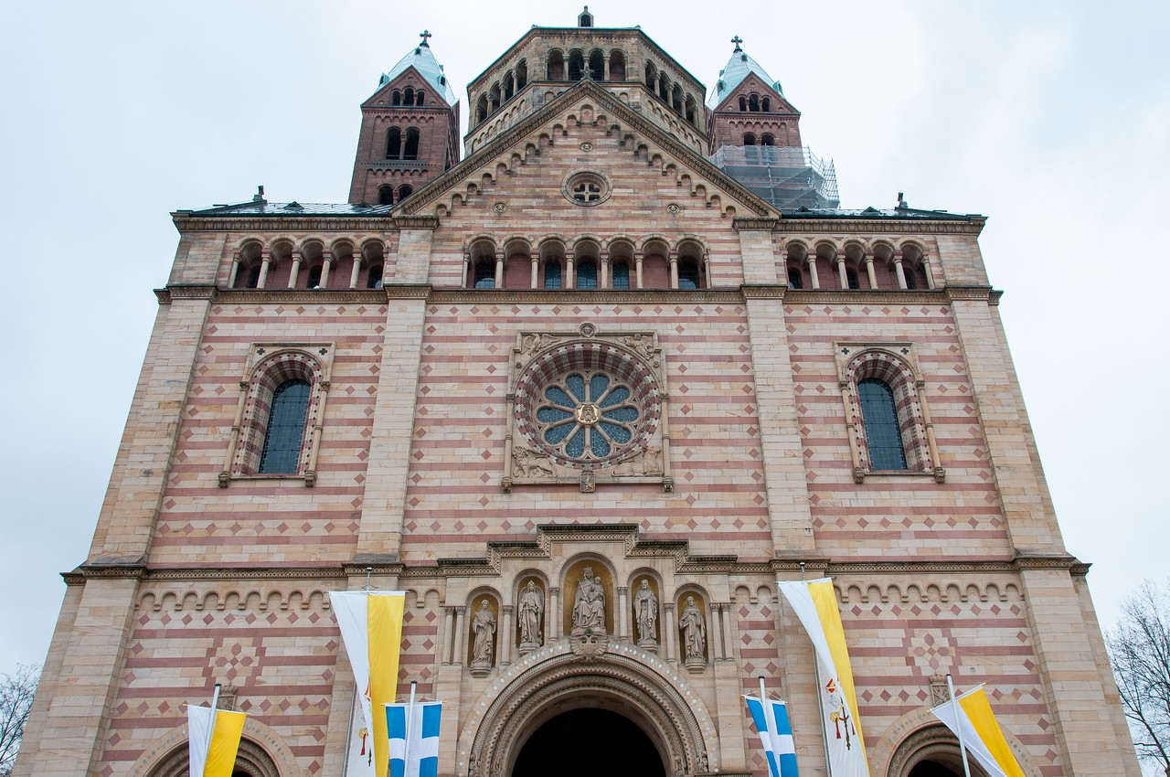 The Speyer Cathedral facade in Speyer, Germany