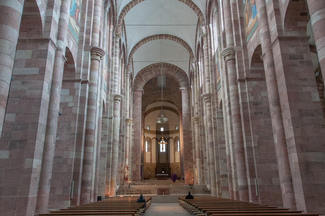 Looking down the aisle and altar inside Speyer Cathedral, Germany