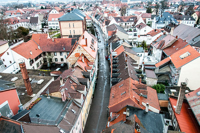 Overhead shot of a narrow alley in Speyer, Germany