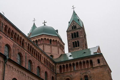 Towers and dome outside the Speyer Cathedral in Germany