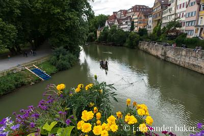From the Bridge of Flowers over the Neckar River in Tübingen, Germany