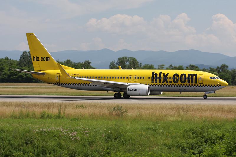 "D-AHFS Boeing 737-8K5 ""Hapag Lloyd Express"" c/n 28623 Basle-Mulhouse/LFSB/BSL 22-06-08"