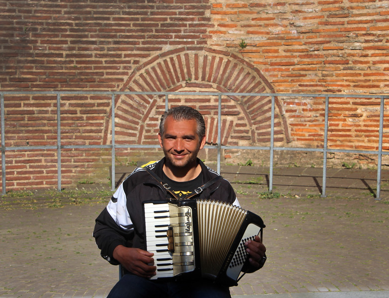 Trier Germany, Musician in Cathedral Courtyard