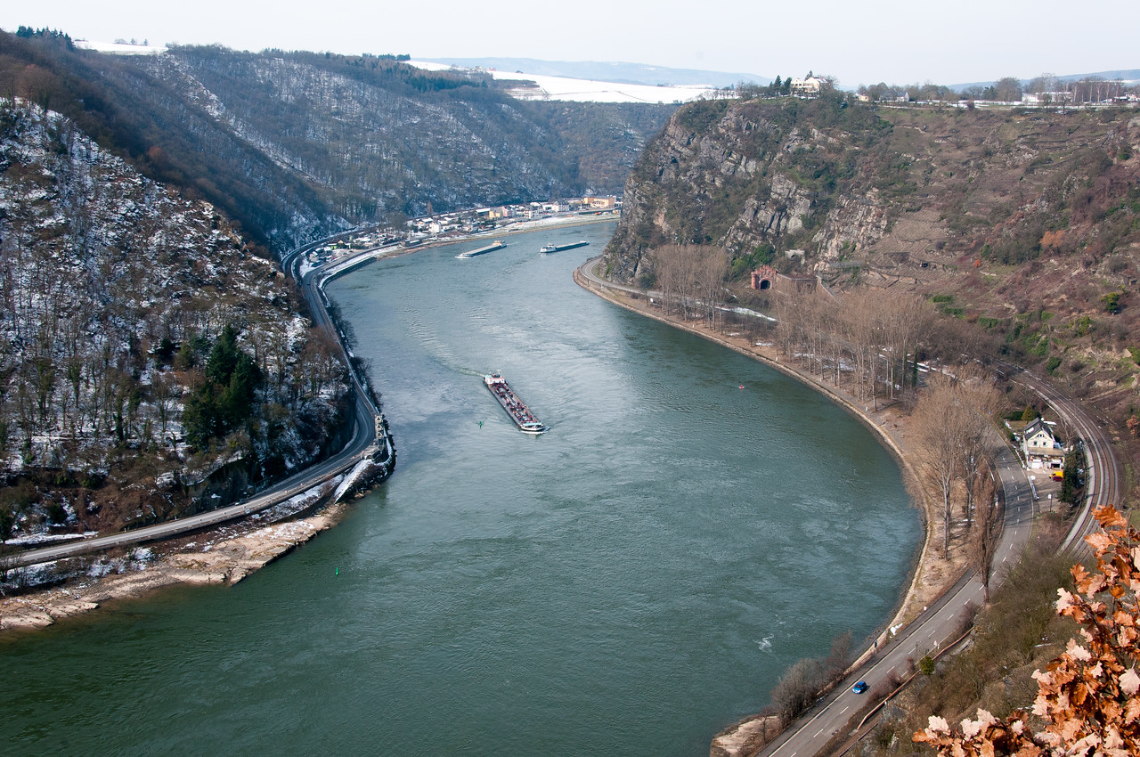 Wide shot of the river Rhine Gorge in Upper Middle Rhine Valley in Germany