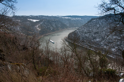 Boat cruising over the river Rhine Gorge in Upper Middle Valley in Germany