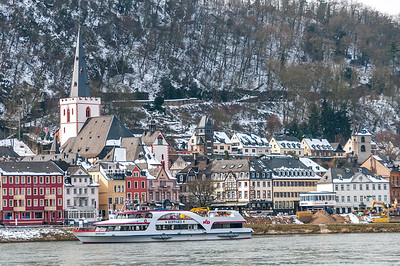 Boat cruising along the river at Upper Middle Rhine Valley in Germany