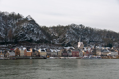 Structures along the riverbank in Upper Middle Rhine Valley, Germany