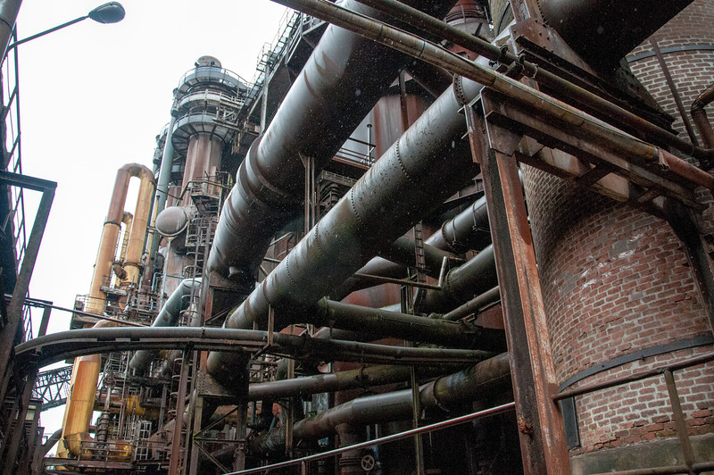 Iron pipes at Volklingen Ironworks in Germany