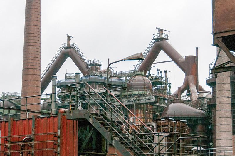 Iron structures inside Volklingen Ironworks in Germany