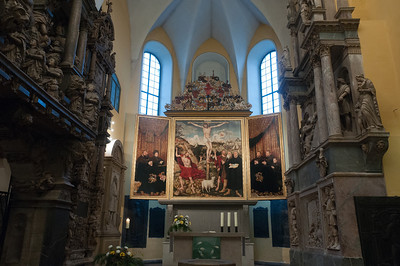 The altar inside a church in Weimar, Germany