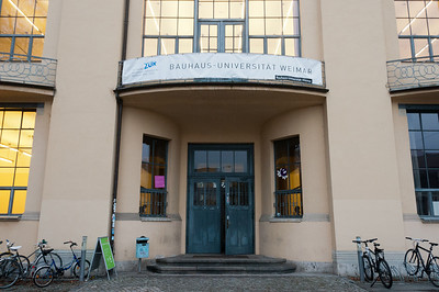 Entrance door to Bauhaus University in Weimar, Germany