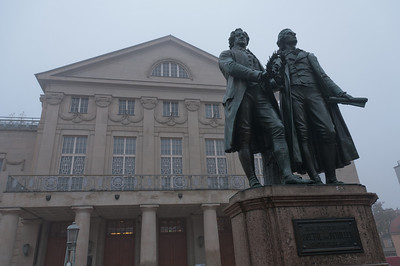 The Goethe-Schiller Monument in front of the Deutsches Nationaltheater in Weimar, Germany