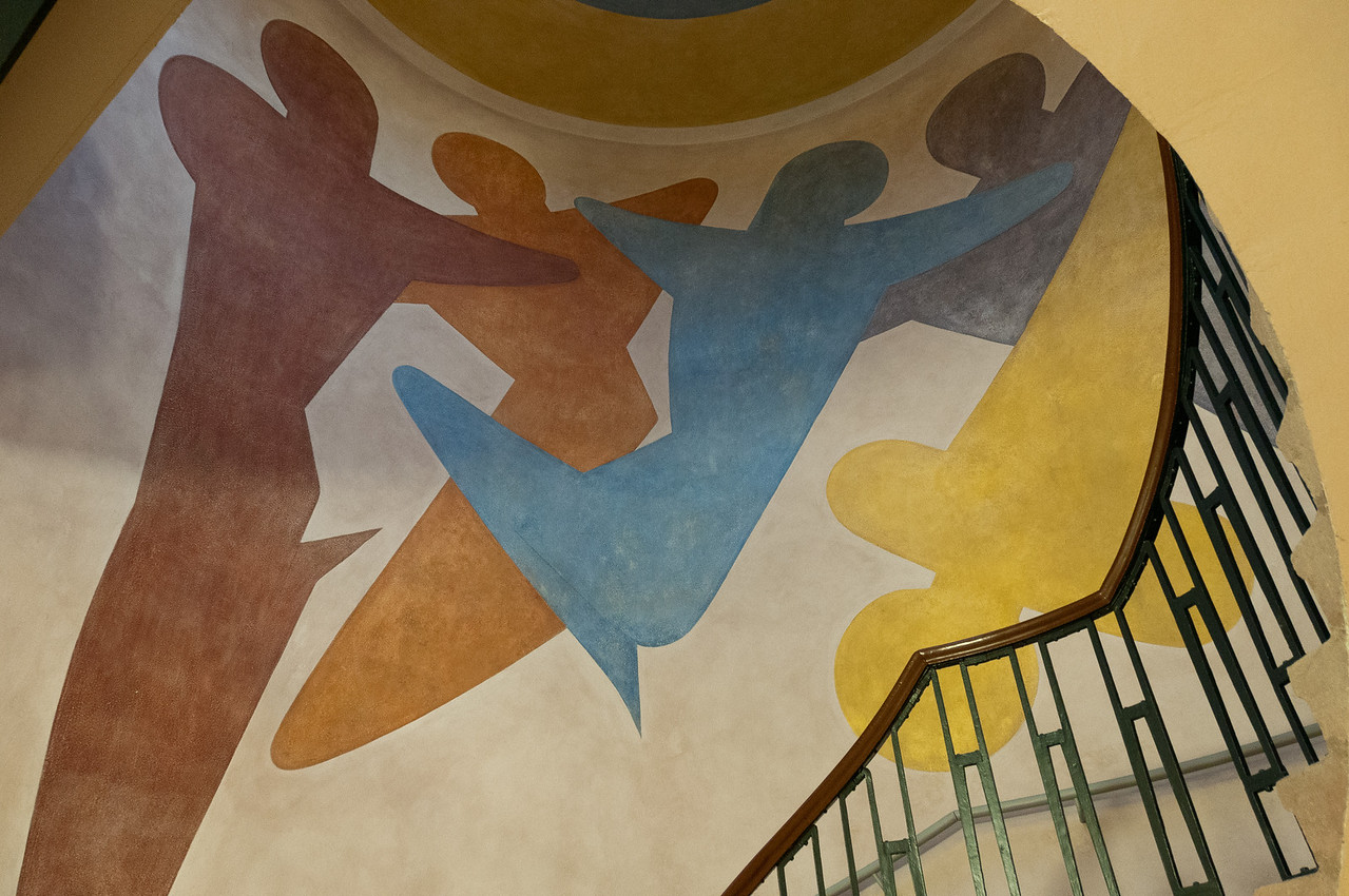 Paintings on the wall inside Bauhaus University in Weimar, Germany