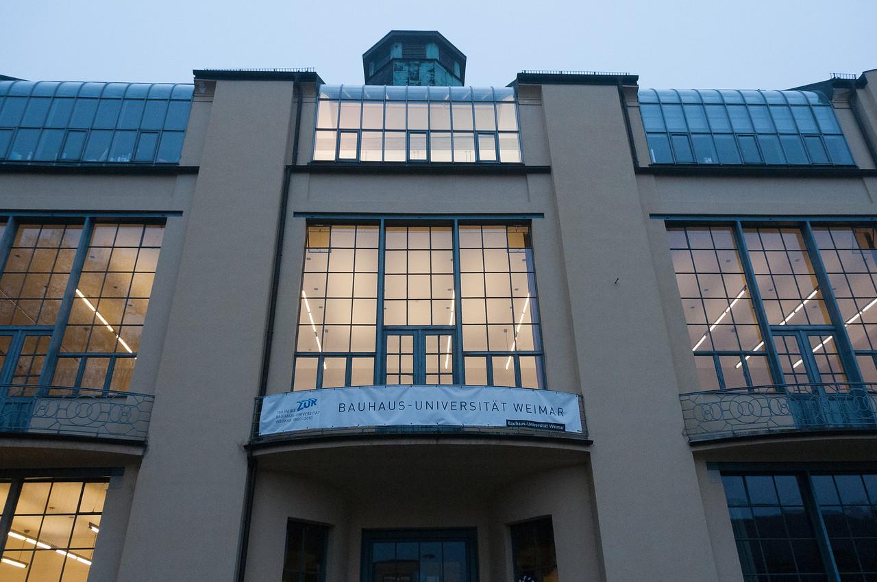 Looking up the Bauhaus University facade in Weimar, Germany