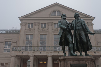 The Goethe-Schiller Monument in front of the Deutsches Nationaltheater and Staatskapelle Weimar - Weimar, Germany