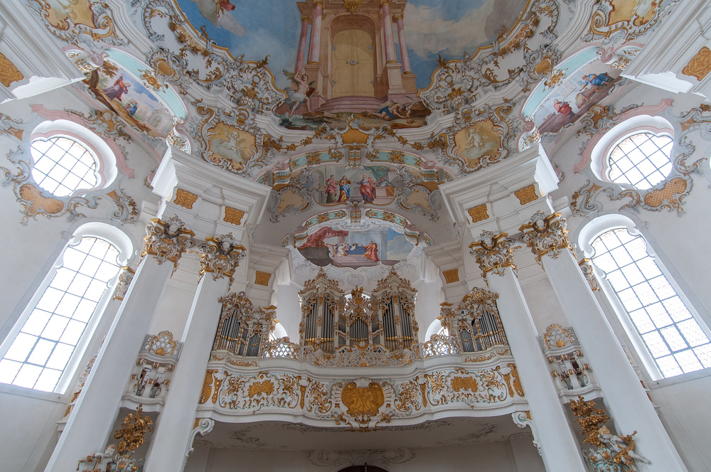 Organ and Choir Loft in the Pilgrimage Church of Wies, Germany