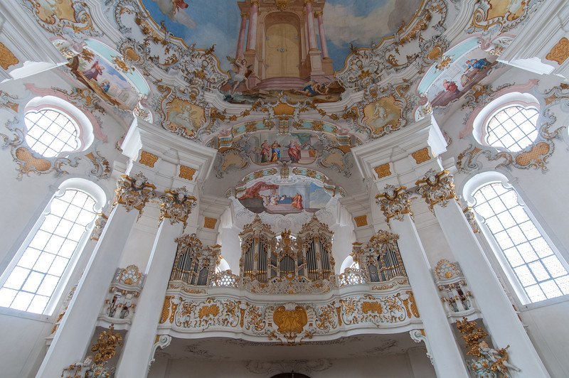 Looking up decor and ceiling of Wies Church in Germany