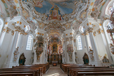 Looking down the aisle of Wies Church in Germany