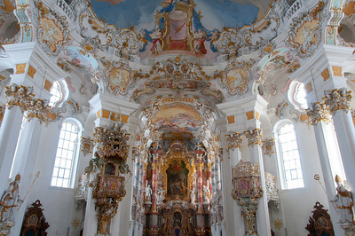 Rococo style interior at Wies Church in Germany