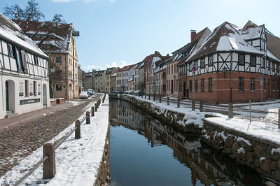 Snow-covered town in Wismar, Germany