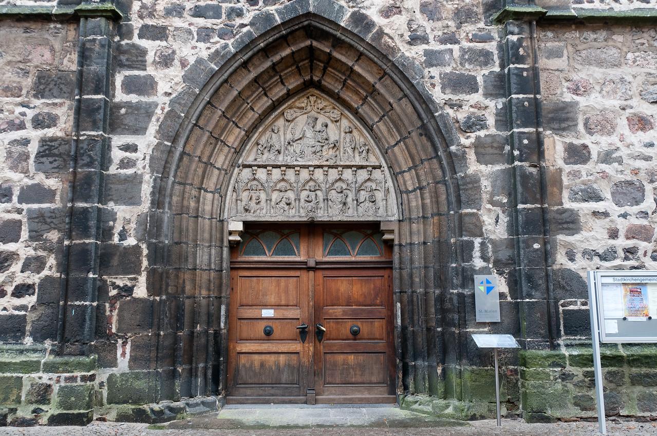 Close-up of old wooden door in Wittenberg, Germany