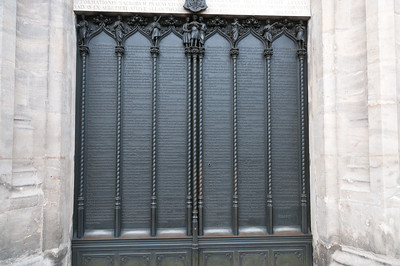 Martin Luther's 95 theses on the door of All Saints' Church in Wittenberg, Germany