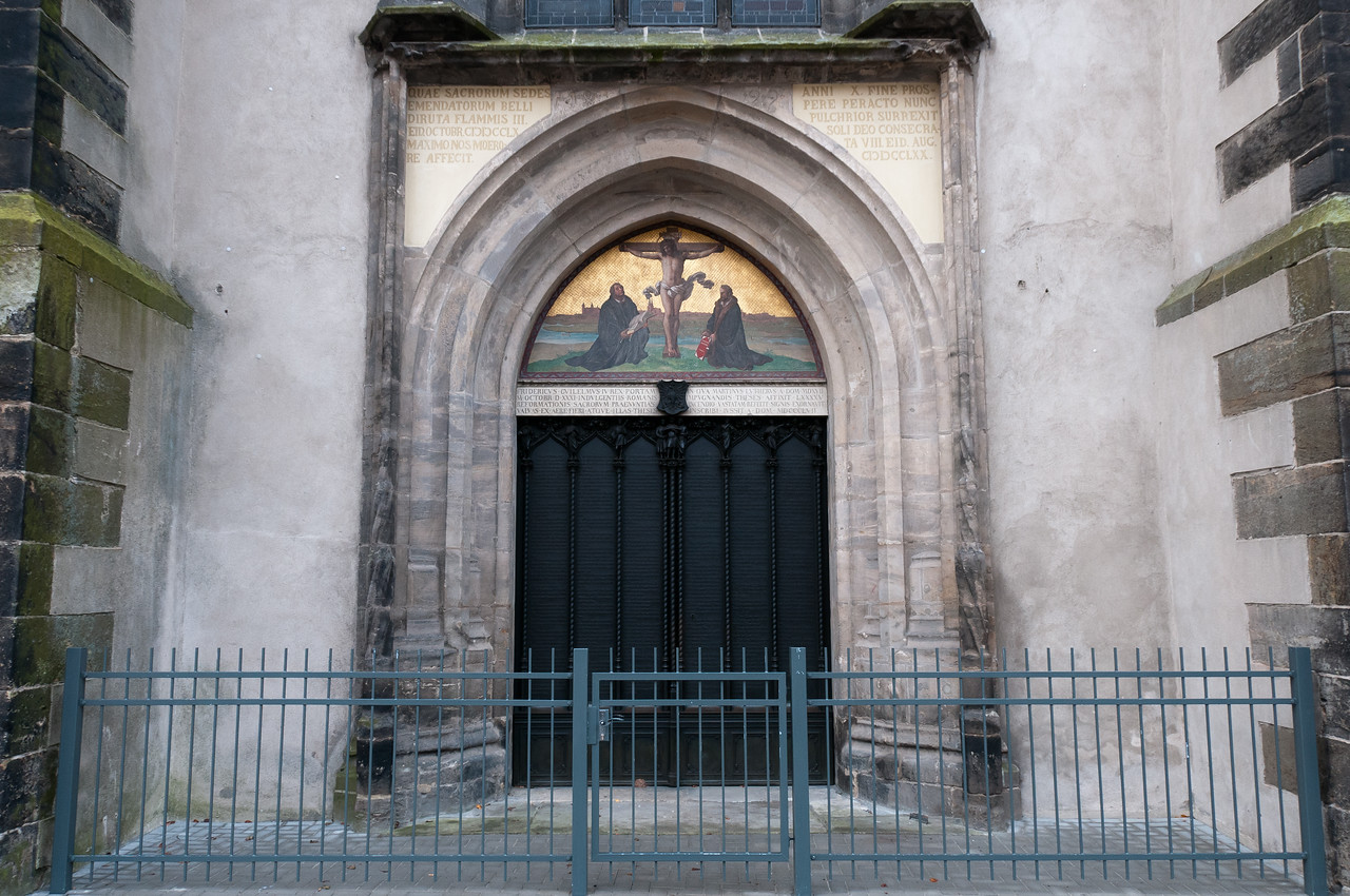 Door of the Wittenberg Cathedral where Martin Luther nailed the 95 Theses.
