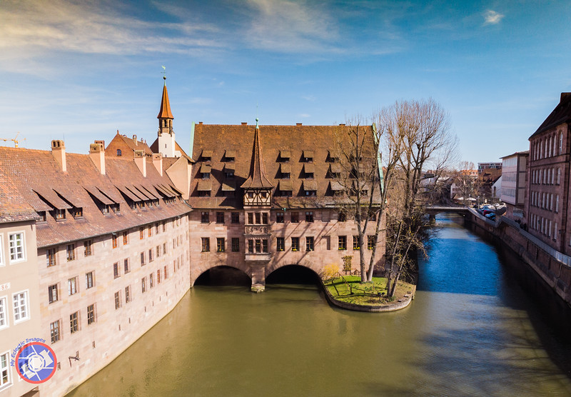 Drone Shot Flying Over the Pegnitz River Just East of the Museum Bridge (©simon@myeclecticimages.com)