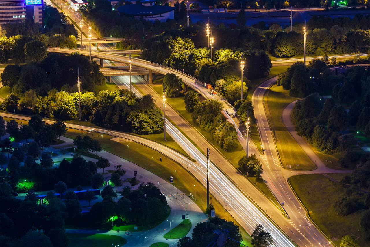 Elevated view of German autobahns. Munich, Bavaria, Germany,