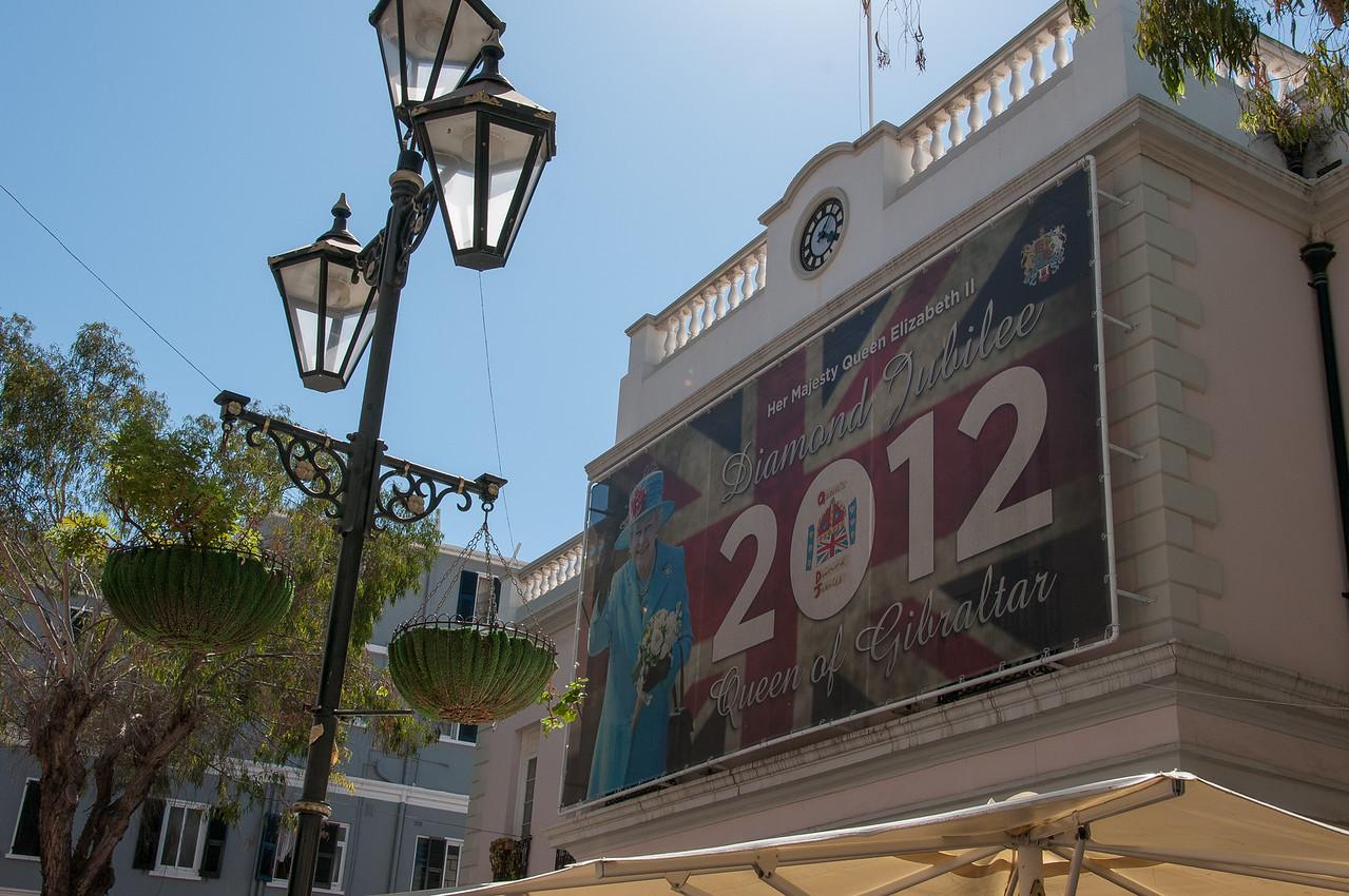 Billboard commemorating the British Queen in Gibraltar