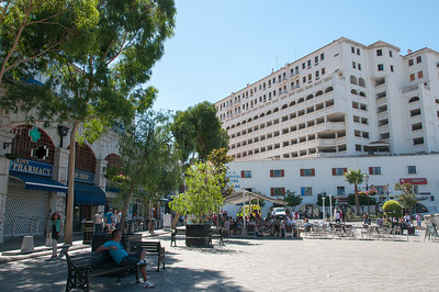 A busy and commercial shopping district in Gibraltar